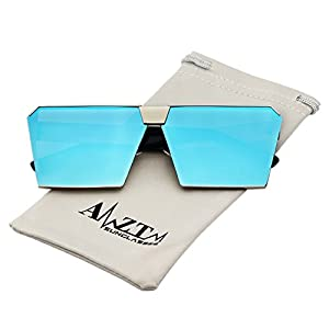AMZTM Trend Square Frame Mirrored Reflective Lens Oversized Polarized Sunglasses For Women and Men (Golden Frame and Ice Blue Lens, 63)