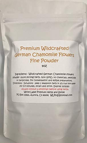 Wildcrafted German Chamomile Flowers Dried Powder | 4oz | USA | Tea | Fine powder Aromatic Potent | White Label Herbs |