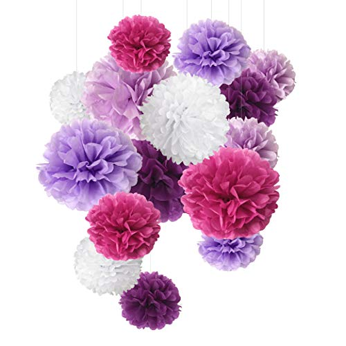 Paper Pom Poms Paper Flowers For Wedding Decor - Birthday Celebration - Wedding Party and Outdoor Decoration- 15 Pcs of 8, 10, 14 Inch (PURPLE)