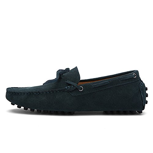 Yuanli Yuanlis Mens Suede Leather Slip-On Loafers Casual Driving Moccasin Flats Shoes Green Xt8aVb