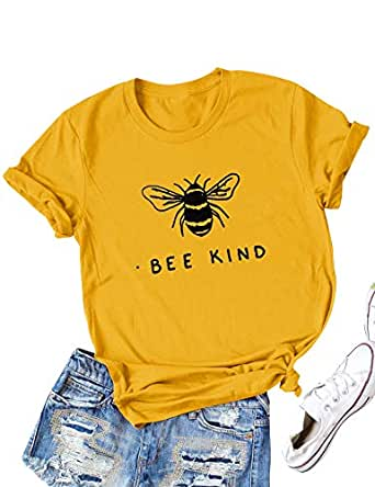 Hubery Women Cute Graphic Print BEE Kind Tee Tops Short Sleeve Funny Shirt Blouse - - Small