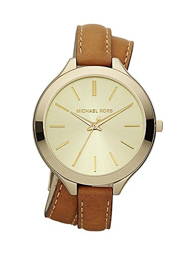 MICHAEL KORS Mk2256 Slim Runway Luggage Leather Double Wrap Strap Watch Watch For Women