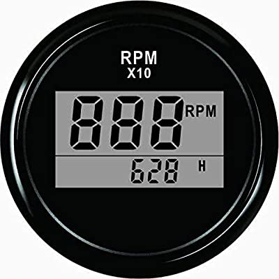 ELING Waterproof Digital Tachometer REV Counter RPM Gauge with Hour Meter 9990RPM 52mm 9-32V with Backlight: Automotive