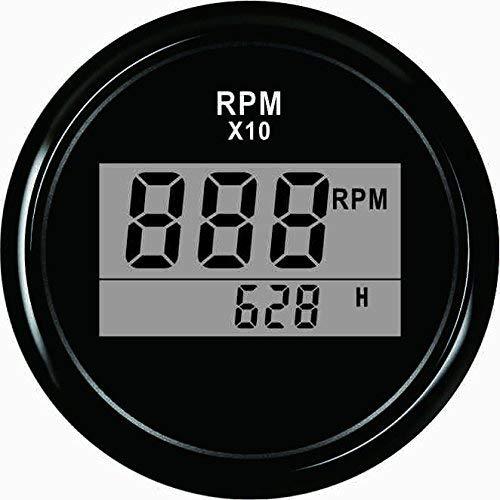 ELING Waterproof Digital Tachometer REV Counter RPM Gauge with Hour Meter 9990RPM 52mm 9-32V with Backlight