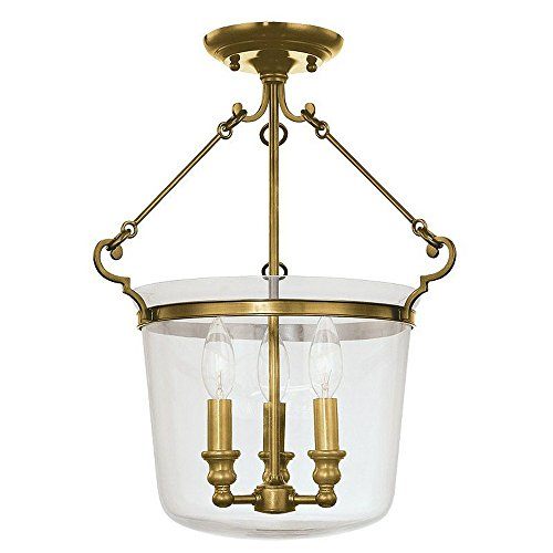 Quinton 3-Light Semi Flush - Aged Brass Finish with Clear Glass Shade