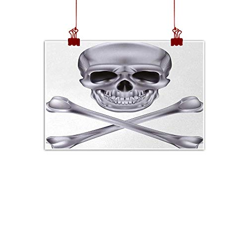 duommhome Silver Print Art Oil Painting Vivid Skull and Crossbones Dangerous Scary Dead Skeleton Evil Face Halloween Theme Decorations Home Decor W20 xL16 -