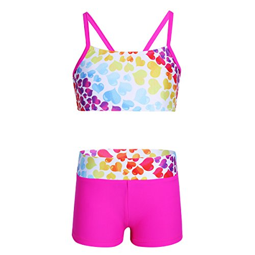 MSemis Girls' Kids 2-Piece Sport Dance Outfit Crop Top with Booty Shorts Gymnastics Leotard Dancing Swimwear Rose Heart 5-6