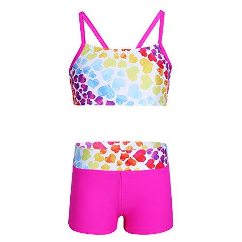 Leotard Halter Dance (FEESHOW Girls 2 Piece Gymnastics Sports Dance Outfit Crop Tank Top Booty Shorts Set Leotard Dancing Swimmwear Bow Back Hot Pink 6)