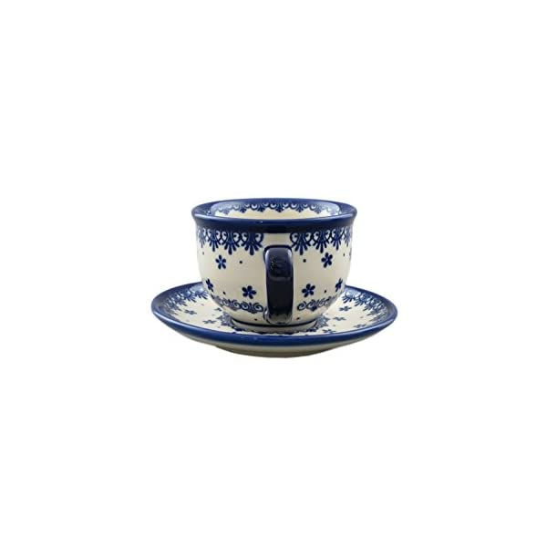 Boleslawiec Style Pottery Hand Painted Polish Ceramic Vika Cup with a saucer 033-C-008