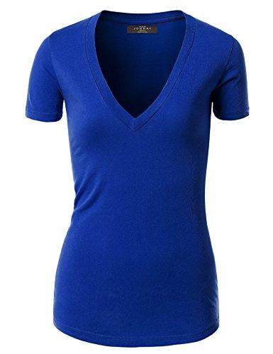 MBJ WT3 Womens Basic Fitted Soft Short Sleeve Deep V Neck T Shirt L ROYAL_BLUE