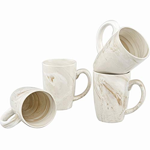 Culver 16-Ounce Palermo Ceramic Mug Set of 4 (White and Brown Marbleized) by Culver