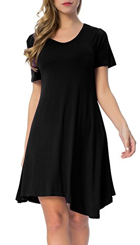 Mounblun Womens Short Sleeve Swing Loose Flowy Casual Tunic Shirt Dress Black Xl