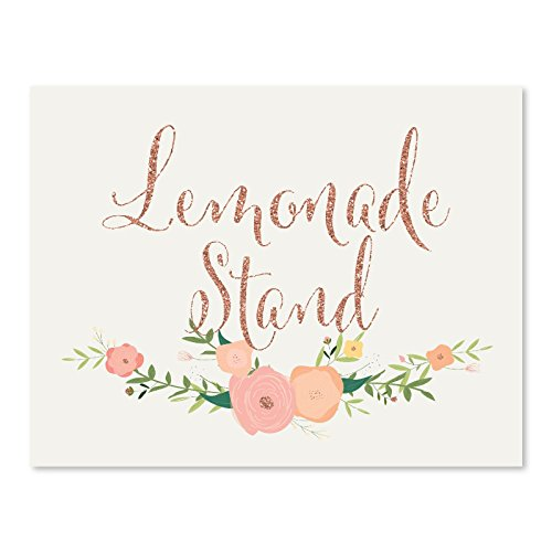 Andaz Press Wedding Party Signs, Faux Rose Gold Glitter with Florals, 8.5x11-inch, Lemonade Stand Reception Dessert Table Sign, 1-Pack, Colored Decorations