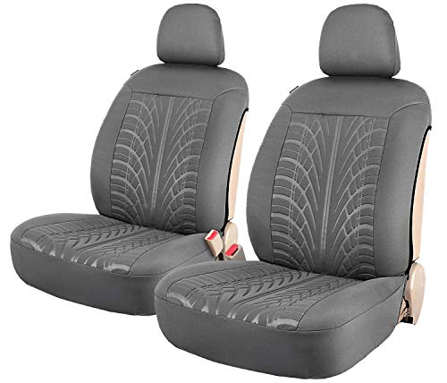 Leader Accessories Embossed 2 Car Front Seat Covers Grey Side-Less Quick Install Auto Protection with Headrest Covers