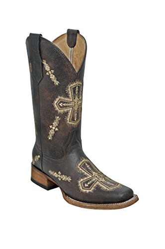Corral Circle G Women's Embroidered Cross-Designed Brown Leather Cowgirl Boots (Corral Boots Women Cross)