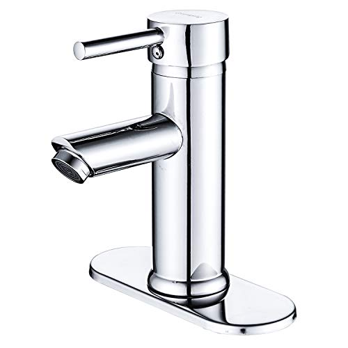 Greenspring Commercial Single Handle Bathroom Sink Faucet One Hole Deck Mount Lavatory Faucet Stainless Steel ,Chrome Finish (One Hole Corner)
