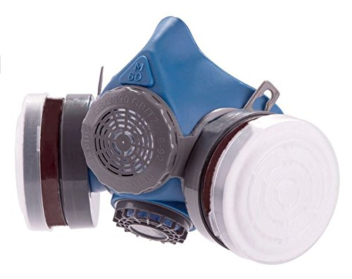 Parcil Distribution T-60 Series Reusable Respirator by Double Air filter Gas Mask - Industrial Grade Quality - Pure SAFE Breathing for toxic spray, allergens, chemical pest control, painting, fire