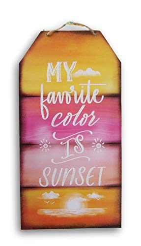Greenbrier International Glittering Hanging ''My Favorite Color is Sunset'' Sign - 8 x 15.5 Inches