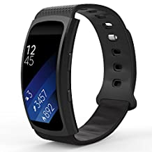 """Samsung Gear Fit2 / Gear Fit2 Pro Watch Band, MoKo Soft Silicone Replacement Sport Band for Samsung Gear Fit 2 SM-R360 / Fit 2 Pro Smart Watch, BLACK (Fits 4.96""""-8.38"""")"""