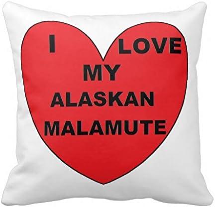Alaskan Mal Love Png Throw Pillow Case