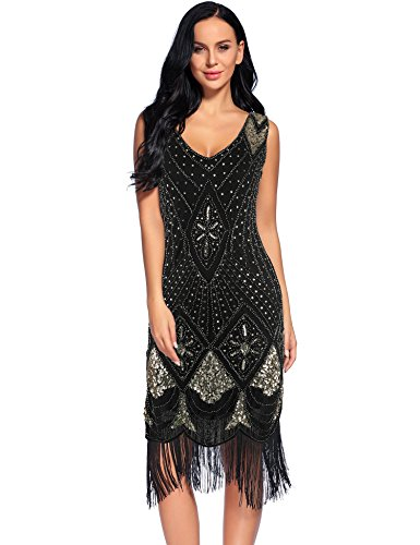 Flapper Girl Women's 1920s Gatsby Cocktail Sequin Art Deco Flapper Dresses (L, Gold) - 1920s Clothing Style
