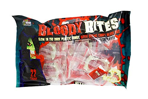 Candy Blood Bags (Halloween Bloody Bites Glow In The Dark Plastic Fangs With Oozing Candy Blood Bags Watermelon Flavor, 7.7 Ounce bag, 22)