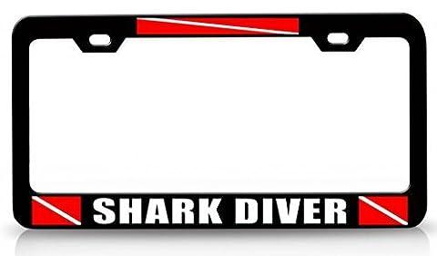 License Plate Covers Shark Diver Scuba Flag Steel Metal License Plate Frame Bl # 9