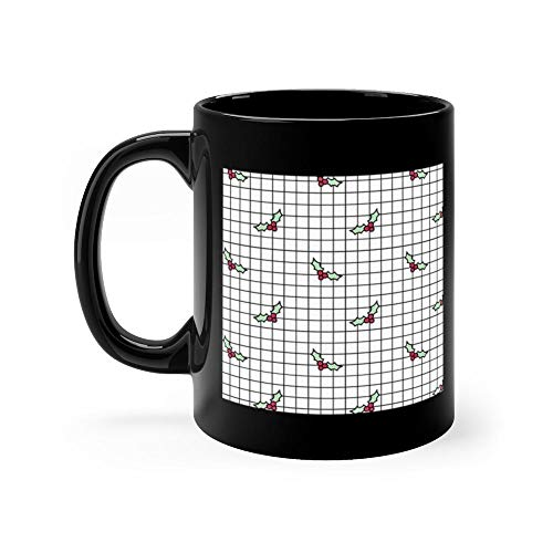 - Holly Grid Mug Coffee Mug 11oz Gift Tea Cups 11oz Ceramic Funny Gift Mug