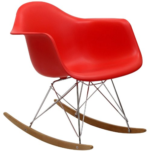(Modway  Rocker Molded Plastic Accent Lounge Chair Rocker Red)