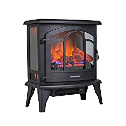 thermomate Electric Fireplace,Portable Freestanding Fireplace with Thermostat, Realistic Flame and Logs Vintage Design for Home and Office, CSA Certificated by thermomate