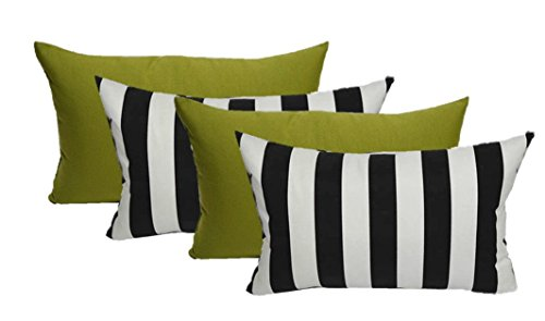 Resort Spa Home Decor Set of 4 Indoor/Outdoor Decorative Lumbar/Rectangle Pillows - 2 Black & White Stripe and 2 Solid Kiwi Green (And Furniture Covers Patio Green Striped White)