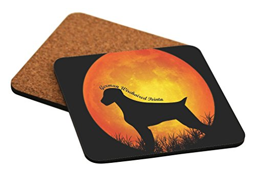 Rikki Knight German Wirehaired Pointer Dog Silhouette by Moon Design Cork Backed Hard Square Beer Coasters, 4-Inch, Brown, 2-Pack