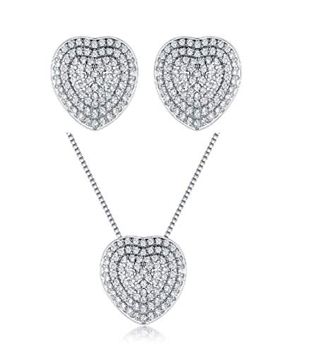 PORI JEWELERS 925 Sterling Silver Crystal Pave Heart Earring and Necklace Set - for Women Designer Heart Necklace Set