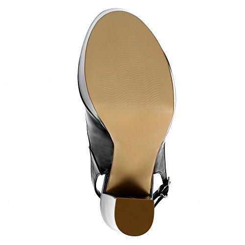 Evita Shoes Stefania Damen Sling Peeptoe Lack Schwarz