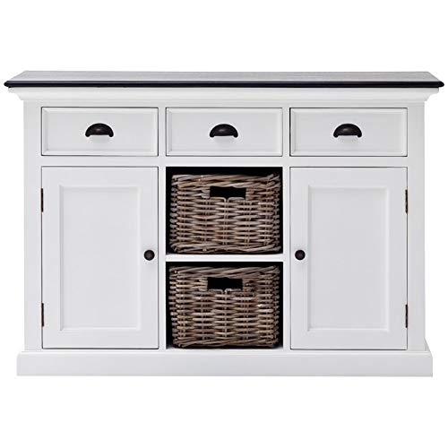 - NovaSolo Halifax Contrast Pure White Mahogany Wood Sideboard Dining Buffet With Storage, 3 Drawers And 2 Rattan Baskets
