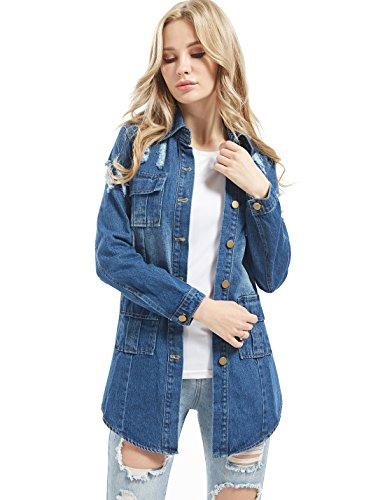 Long Sleeve Jacket (Tanming Women's Casual Lapel Slim Long Sleeve Denim Outercoat Jacket Windbreaker (Small, Dark Blue))