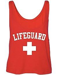 Lifeguard Tank Top Halloween Costume Idea for Women and Teens- Red Lifeguard Crop Top