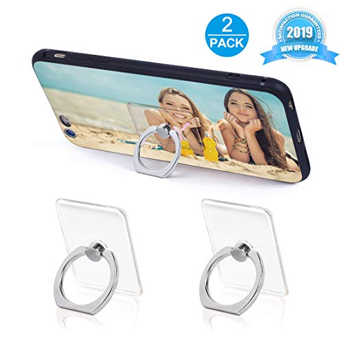 Phone Ring Holder Phone Ring Transparent Ring Holder for Cell Phone 360 Degree Rotation and 180 °Flip Phone Ring Grip Finger Ring Stand Kickstand Compatible Various Mobile Phones (Silver)