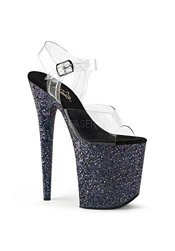 Pleaser Women's Flam808lg/c/bg Platform Sandal, Clr/Black Holo Glitter, 7 M US ()