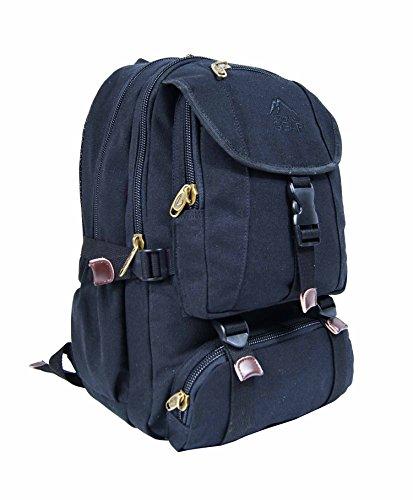 OUTDOOR GEAR Mens Women Canvas Backpack 13, 13.3, 15, 15.6 Inch Laptop Rucksack - Camping Hiking Travel Weekend Bag - 30 Liters (Black)