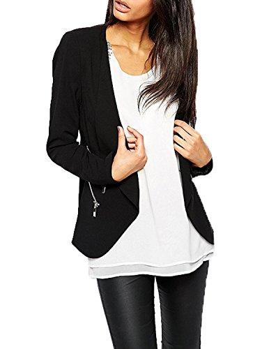 HaoDuoYi Womens Casual Open Front Jacket Blazer with Zipper Deco(XL,Black)
