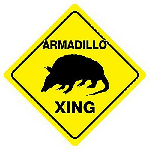 Weytff Armadillo Crossing Crossing Road Sign Funny Metal Sign Good for Indoor and Outdoor Display 12X12 Inches