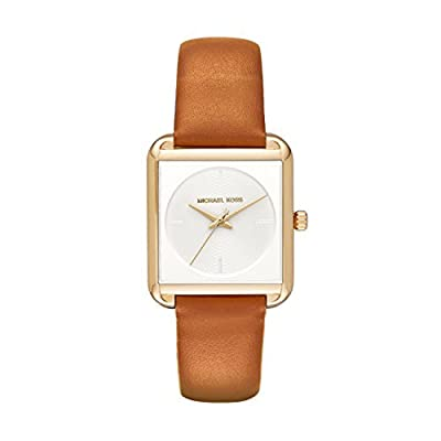Michael Kors Women's Lake Goldtone And Luggage Leather Three Hand Watch