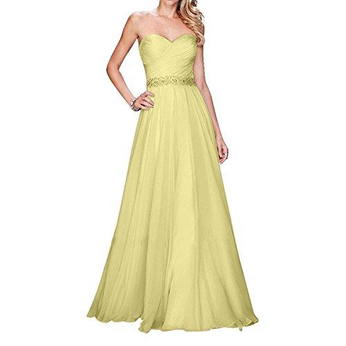 Festlichkleider mit Abschlussballkleider Brau Gelb La Chiffon Ballkleider Elegant Abendkleider mia Steine Jugendweihe Kleider Lang 6xnPz
