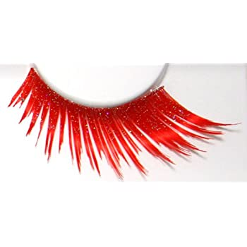 40a66d03012 Zinkcolor Vibrant Red W/ Iridescent Glitter False Eyelashes E859 Costume