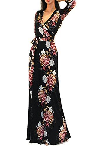 Vivicastle Women's Printed V-Neck 3/4 Sleeve Wrap Waist Tie Long Maxi Dress (Large, I26, blk/Multi)