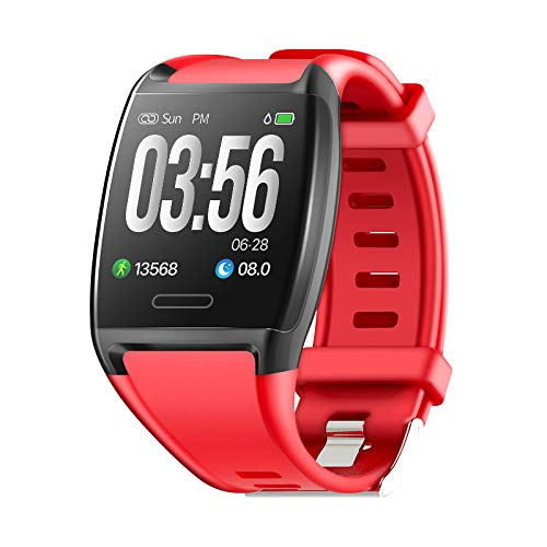 HalfSun Fitness Tracker, Activity Tracker Fitness Watch with Heart Rate Monitor, Blood Pressure Monitor, IP67 Waterproof Smart Watch with Sleep Monitor, Calorie Counter, Pedometer (red) (Best Step Tracker App)