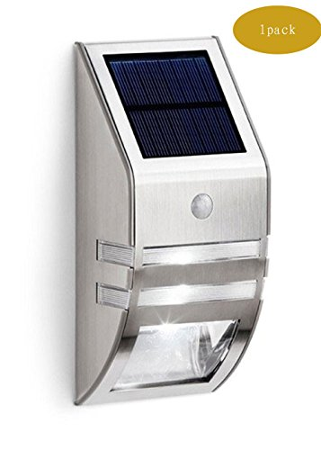 CDQ 2 Pack White Light Wireless Solar Outdoor Wall Light LED with PIR Motion Sensor- Stainless Steel Case Waterproof Super Bright Security Light for Garden Pathway Outdoor Fence Wall (Sliver)