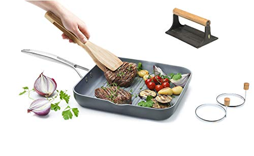 GreenPan Paris 11 Inch Ceramic Non-Stick Square Grill Pan With Bacon Press