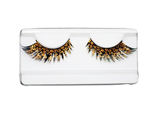 EMILYSTORES Catwoman Leopard Party Looking Eyelashes Painting Lashes 1 Pairs Golden Color by EMILYSTORES